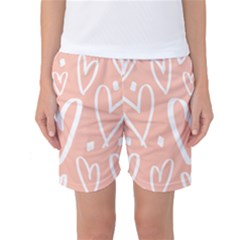 Coral Pattren With White Hearts Women s Basketball Shorts by alllovelyideas