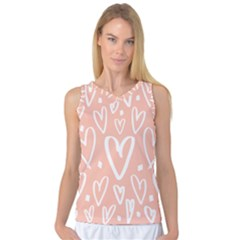 Coral Pattren With White Hearts Women s Basketball Tank Top by alllovelyideas
