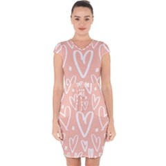 Coral Pattren With White Hearts Capsleeve Drawstring Dress  by alllovelyideas
