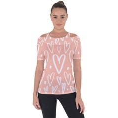 Coral Pattren With White Hearts Shoulder Cut Out Short Sleeve Top by alllovelyideas