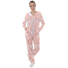 Coral Pattren With White Hearts Women s Tracksuit by alllovelyideas