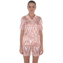 Coral Pattren With White Hearts Satin Short Sleeve Pyjamas Set by alllovelyideas
