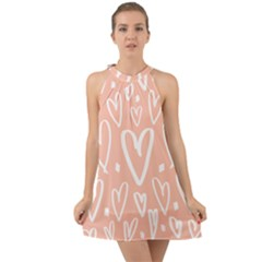 Coral Pattren With White Hearts Halter Tie Back Chiffon Dress by alllovelyideas