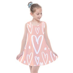 Coral Pattren With White Hearts Kids  Summer Dress by alllovelyideas