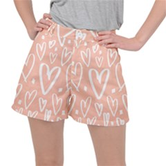 Coral Pattren With White Hearts Stretch Ripstop Shorts by alllovelyideas
