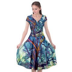 Tree Colorful Nature Landscape Cap Sleeve Wrap Front Dress