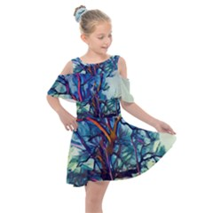 Tree Colorful Nature Landscape Kids  Shoulder Cutout Chiffon Dress by Pakrebo