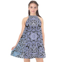 Tile Design Art Mosaic Pattern Halter Neckline Chiffon Dress  by Pakrebo