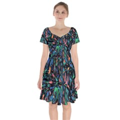 Tree Forest Abstract Forrest Short Sleeve Bardot Dress