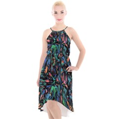 Tree Forest Abstract Forrest High Low Halter Chiffon Dress