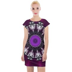 Kaleidoscope Round Circle Geometry Cap Sleeve Bodycon Dress by Pakrebo