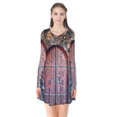 Steampunk Gears Pipes Brass Door Long Sleeve V Neck Flare Dress