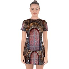 Steampunk Gears Pipes Brass Door Drop Hem Mini Chiffon Dress