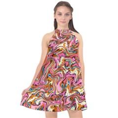 Ml 97 Halter Neckline Chiffon Dress