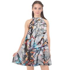 Forest Abstract Artwork Colorful Halter Neckline Chiffon Dress  by Pakrebo