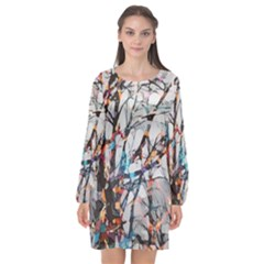 Forest Abstract Artwork Colorful Long Sleeve Chiffon Shift Dress