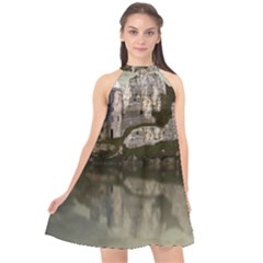 Sea Fortress Lake Reflection Sky Halter Neckline Chiffon Dress