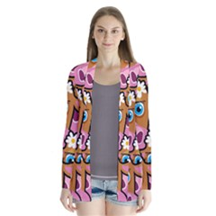 Pink Cows Drape Collar Cardigan by ArtworkByPatrick