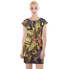 Lilies Abstract Flowers Nature Cap Sleeve Bodycon Dress