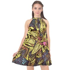 Lilies Abstract Flowers Nature Halter Neckline Chiffon Dress  by Pakrebo