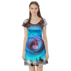 Abstract Kaleidoscope Pattern Short Sleeve Skater Dress