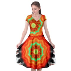 Abstract Kaleidoscope Colored Cap Sleeve Wrap Front Dress by Pakrebo