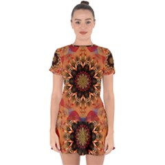 Abstract Kaleidoscope Design Drop Hem Mini Chiffon Dress