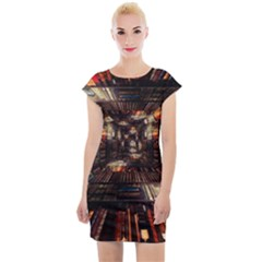 Library Tunnel Books Stacks Cap Sleeve Bodycon Dress