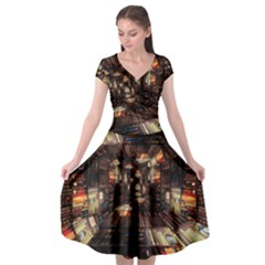 Library Tunnel Books Stacks Cap Sleeve Wrap Front Dress