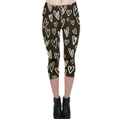 White Hearts   Black Background Capri Leggings  by alllovelyideas