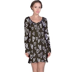White Hearts - Black Background Long Sleeve Nightdress by alllovelyideas