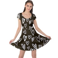 White Hearts   Black Background Cap Sleeve Dress by alllovelyideas