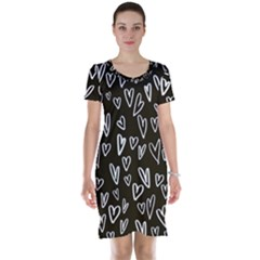 White Hearts - Black Background Short Sleeve Nightdress by alllovelyideas