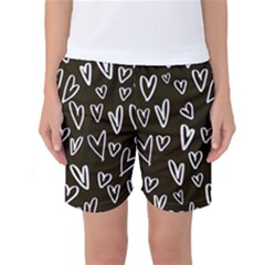White Hearts   Black Background Women s Basketball Shorts by alllovelyideas