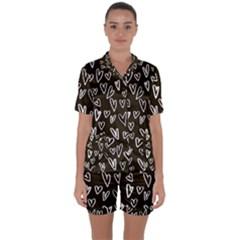White Hearts - Black Background Satin Short Sleeve Pyjamas Set by alllovelyideas