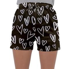 White Hearts - Black Background Sleepwear Shorts by alllovelyideas