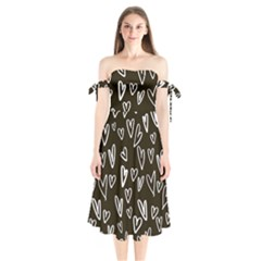 White Hearts   Black Background Shoulder Tie Bardot Midi Dress by alllovelyideas