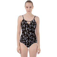 White Hearts   Black Background Cut Out Top Tankini Set by alllovelyideas
