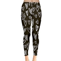 White Hearts   Black Background Inside Out Leggings by alllovelyideas