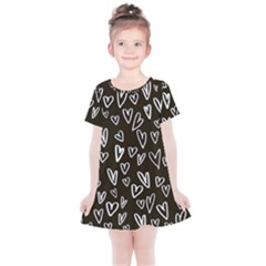 White Hearts   Black Background Kids  Simple Cotton Dress by alllovelyideas