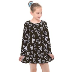 White Hearts   Black Background Kids  Long Sleeve Dress by alllovelyideas
