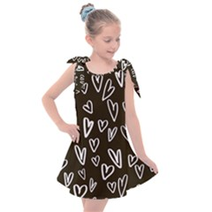White Hearts   Black Background Kids  Tie Up Tunic Dress by alllovelyideas
