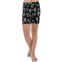 White Hearts   Black Background Kids  Lightweight Velour Capri Yoga Leggings by alllovelyideas