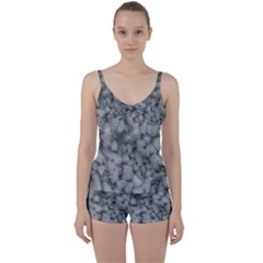 Soft Gray Stone Pattern Texture Design Tie Front Two Piece Tankini