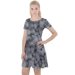 Soft Gray Stone Pattern Texture Design Cap Sleeve Velour Dress  by dflcprintsclothing
