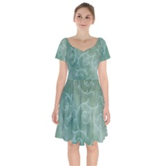 Background Green Structure Texture Short Sleeve Bardot Dress by Alisyart