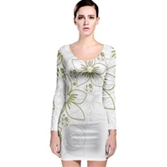 Flowers Background Leaf Leaves Long Sleeve Bodycon Dress
