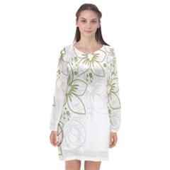 Flowers Background Leaf Leaves Long Sleeve Chiffon Shift Dress