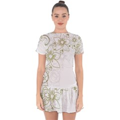 Flowers Background Leaf Leaves Drop Hem Mini Chiffon Dress by Mariart