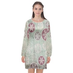 Background Christmas Vintage Old Long Sleeve Chiffon Shift Dress  by Desi8477